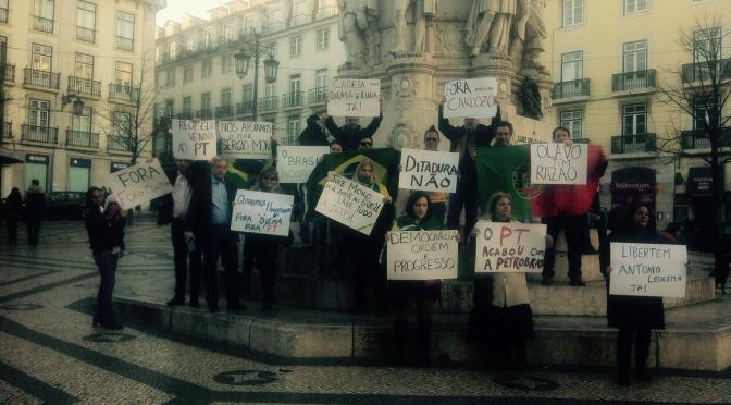 Em Lisboa, Brasileiros denunciam golpe de esquerda no Brasil